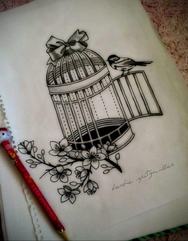 фото тату птица в клетке 02.01.2019 №031 -bird cage tattoo ...