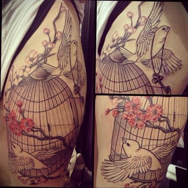 фото тату птица в клетке 02.01.2019 №070 -bird cage tattoo ...