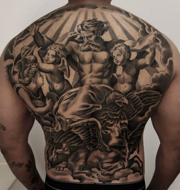 Black and grey ink back piece by Jun Cha