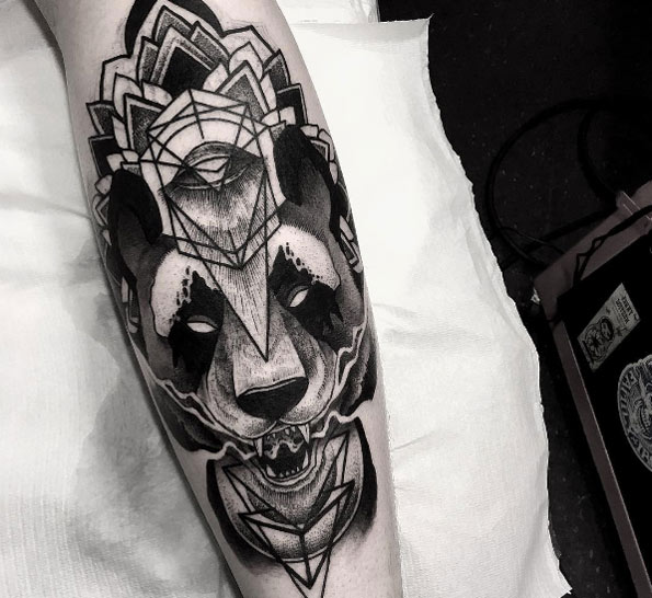 Black ink calf piece by Catharsis