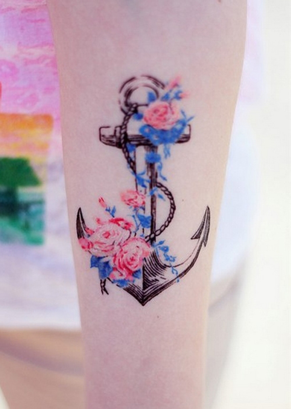 Anchor tattoo to decorate with flower