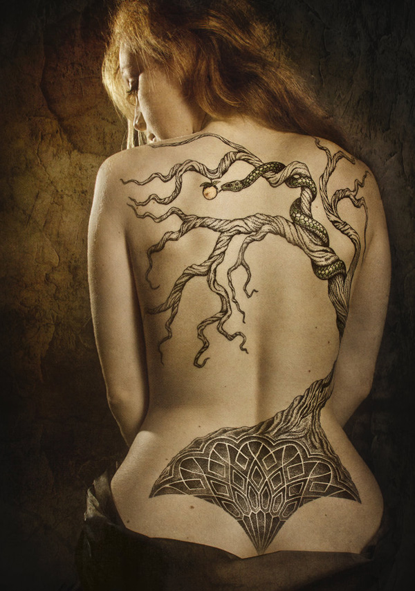 The tree of paradise tattoo women back