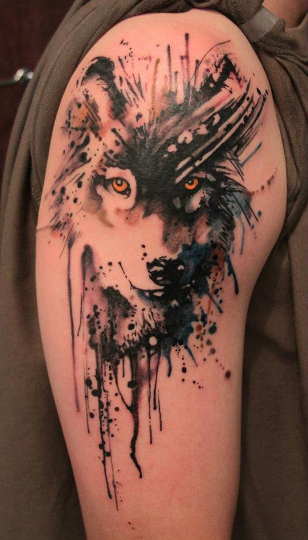 Watercolor wolf tattoo design