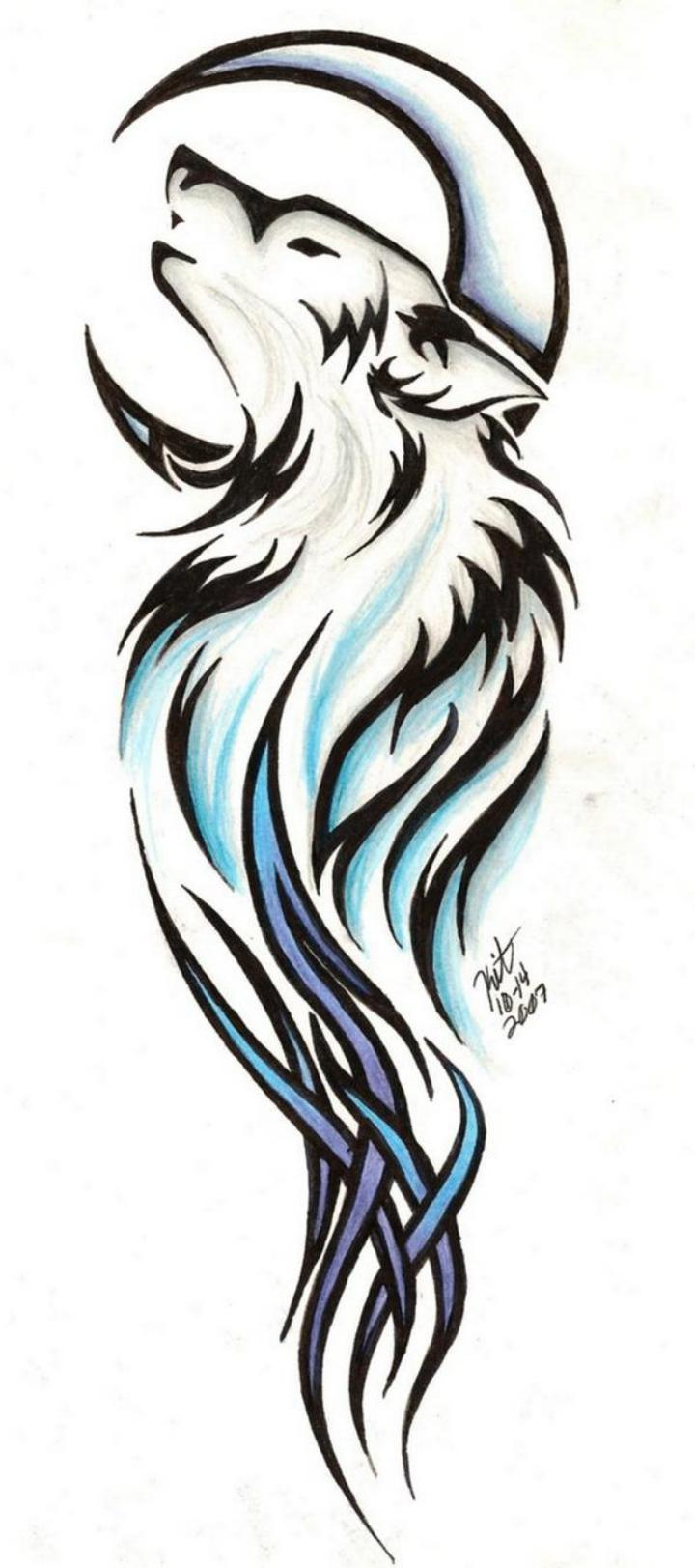 Tribal wolf and moon tattoo design
