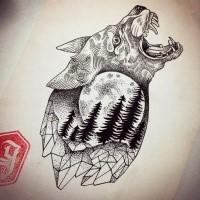 Fluffy Dotwork Howling Wolf In Geometric Frame Tattoo