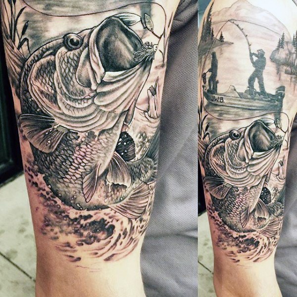 Very Realistic Looking Black And White Detailed Fishing Tattoo On Half Sleeve Area Tattooimages Biz