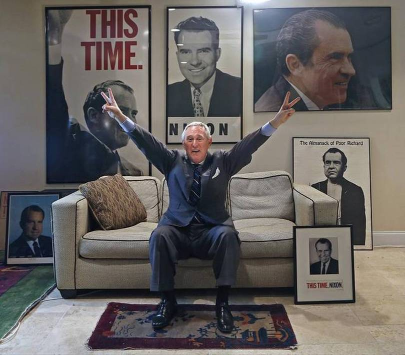 roger stone hands up