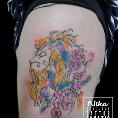 watercolor 水彩 ウォーターカラー ライオン