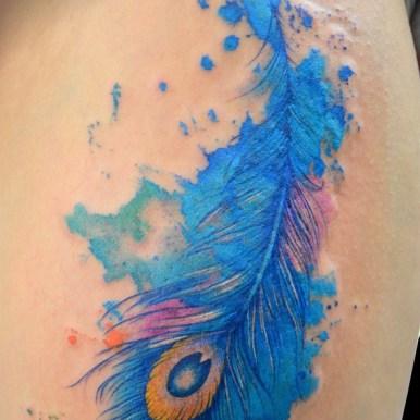 孔雀 羽根 水彩 peacock watercolor feather