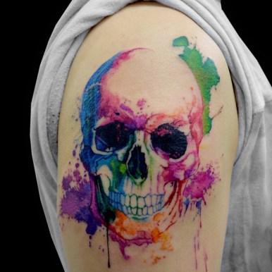 skull watercolor 水彩 スカル