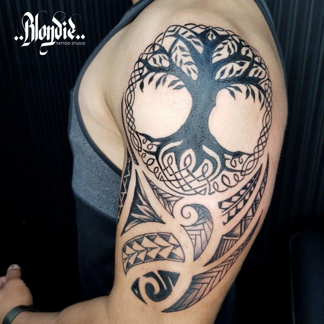 tricep tree of life tattoo design