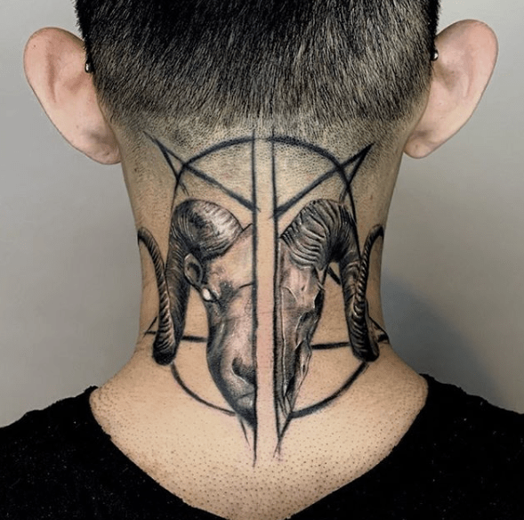baphomet neck tattoo