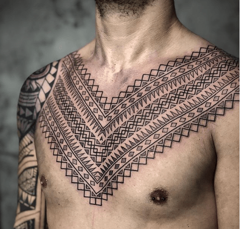 ornamental chest tattoos