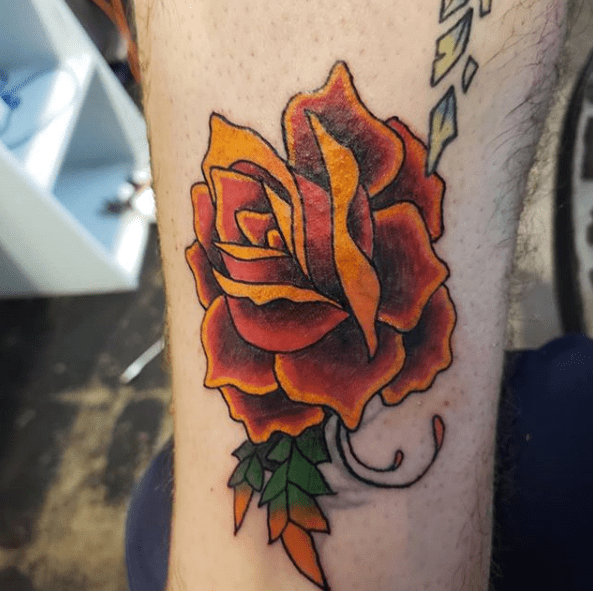 traditional neon rose tattoo