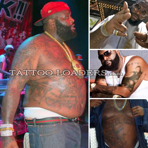 With a big belly and man boobs Rick Ross Tattoos are intricate but hardly