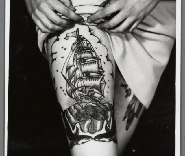 Black And White Ship Tattoo On Leg