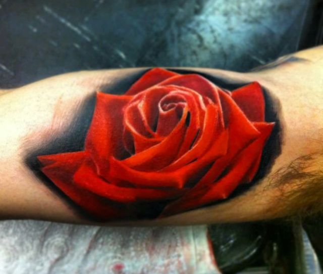Red Realistic Rose Tattoo On Arm