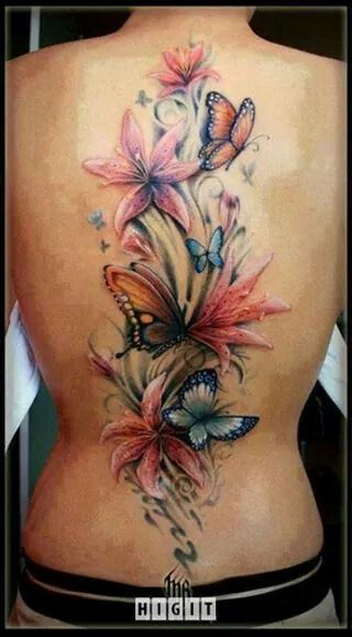Simple Flowers And Watercolor Butterfly Tattoo