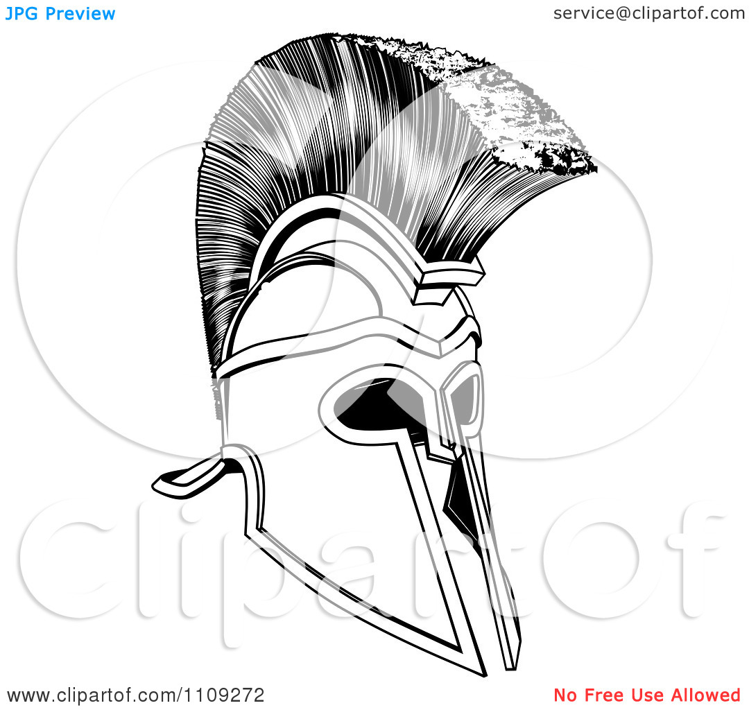 Black And White Ancient Corinthian Or Spartan Helmet