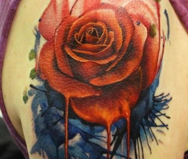 Watercolor Realistic Rose Tattoo On Shoulder