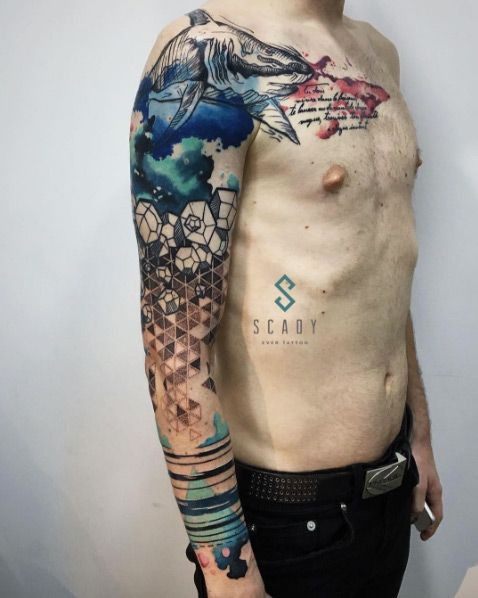 Watercolor Tattoo Creative Abstract Watercolor Sleeve By Ideas And Designs