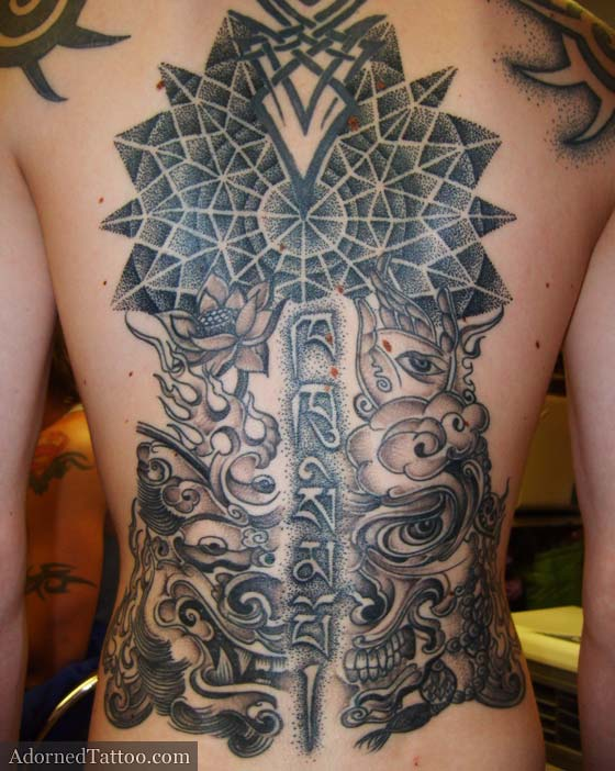 Tibetan Back Tattoo With Geometric Dotwork Circle Ideas And Designs