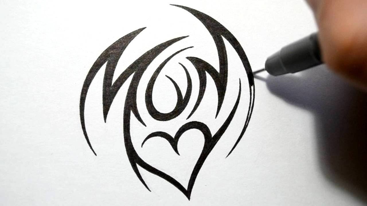 How To Draw Mom Tribal Tattoo Design Style Youtube Ideas And Designs