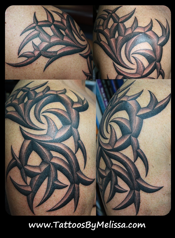3D Tribal Arm And Shoulder Tattoo Artist Melissa Capo Www Ideas And Designs