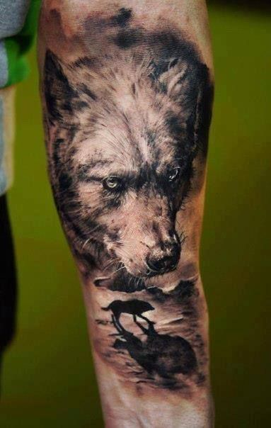 Realistic 3D Wolf Tattoo On Arm Tattoos Wolves Pinterest Ideas And Designs