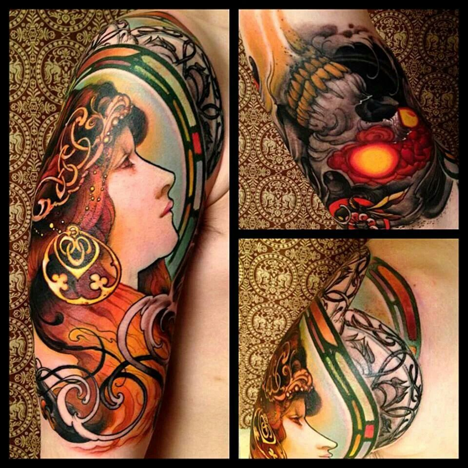 Beautiful Stained Glass Lady Tattoo S Pinterest Ideas And Designs