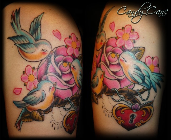 Birds And Rose Tattoo Candy Cane Cherry Blossom Tattoos Ideas And Designs