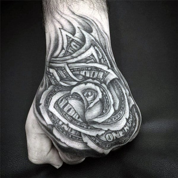 80 Money Rose Tattoo Designs For Men Cool Currency Ink Ideas And Designs
