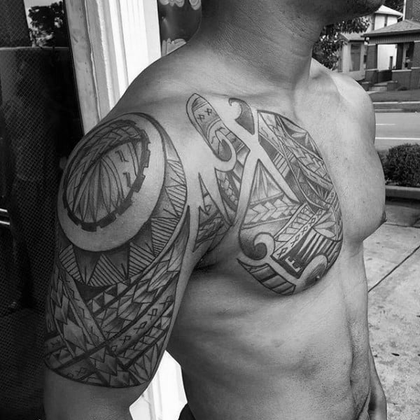 50 Polynesian Chest Tattoo Designs For Men Tribal Ideas Ideas And Designs