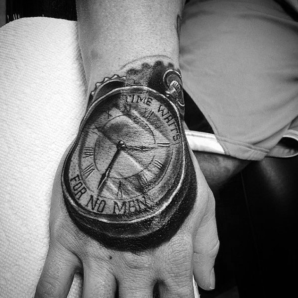 40 Time Waits For No Man Tattoo Designs For Men – Quote Ideas And Designs