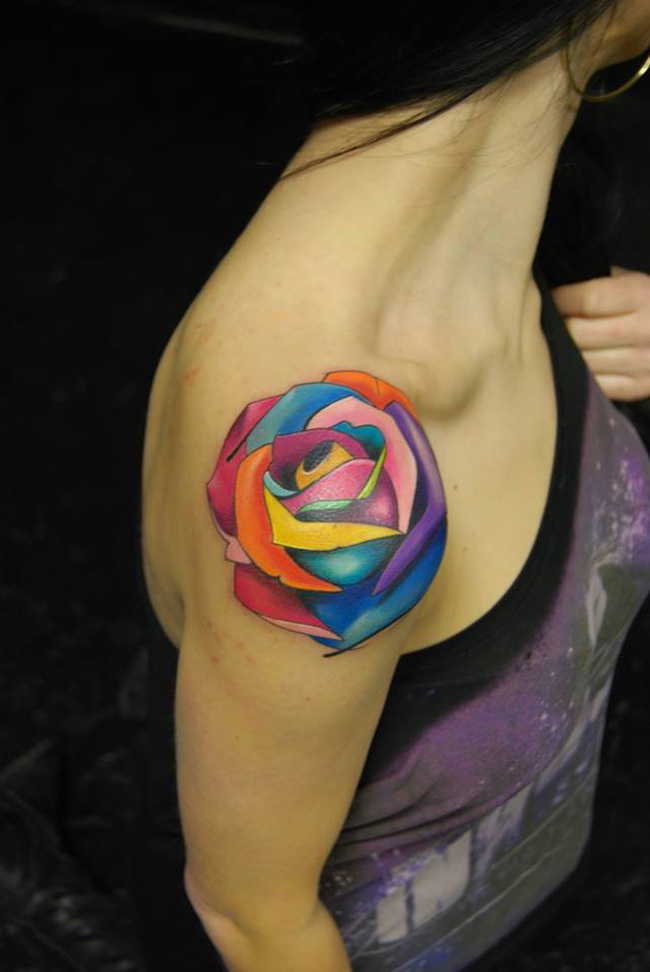 Colored Rose Tattoo Ideas And Designs
