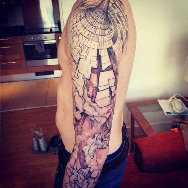 Geometric Abstract Tattoo Optical Illusion Sleeve Ideas And Designs