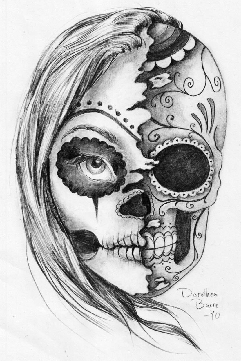 """The Sugar """"Two Face"""" Skull Tattoo Sketch Design By Ideas And Designs"""
