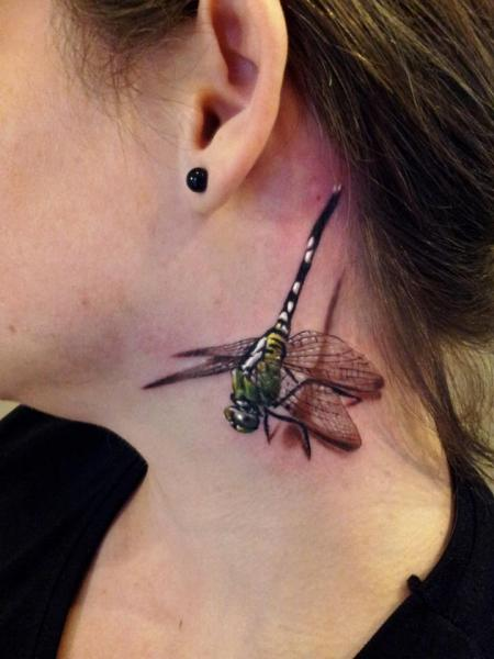 Realistic Neck Dragonfly 3D Tattoo By Rock Ink Ideas And Designs