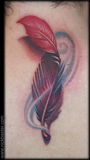 Realistic Feather 3D Tattoo By Nick Baxter Ideas And Designs