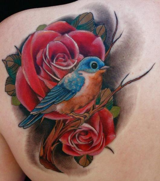 Shoulder Realistic Flower Bird Tattoo By Art Junkies Tattoos Ideas And Designs