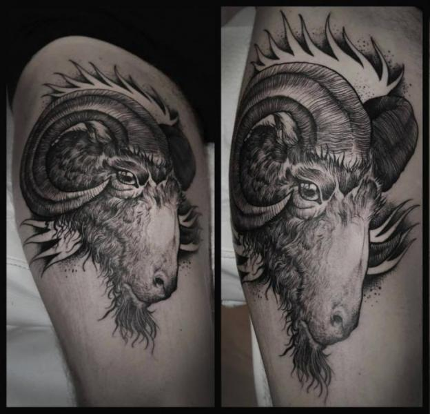 Goat Thigh Tattoo By Rock N Roll Ideas And Designs