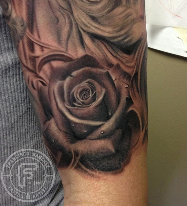 Black And Grey Rose Tattoo By Francisco Sanchez Tattoos Ideas And Designs