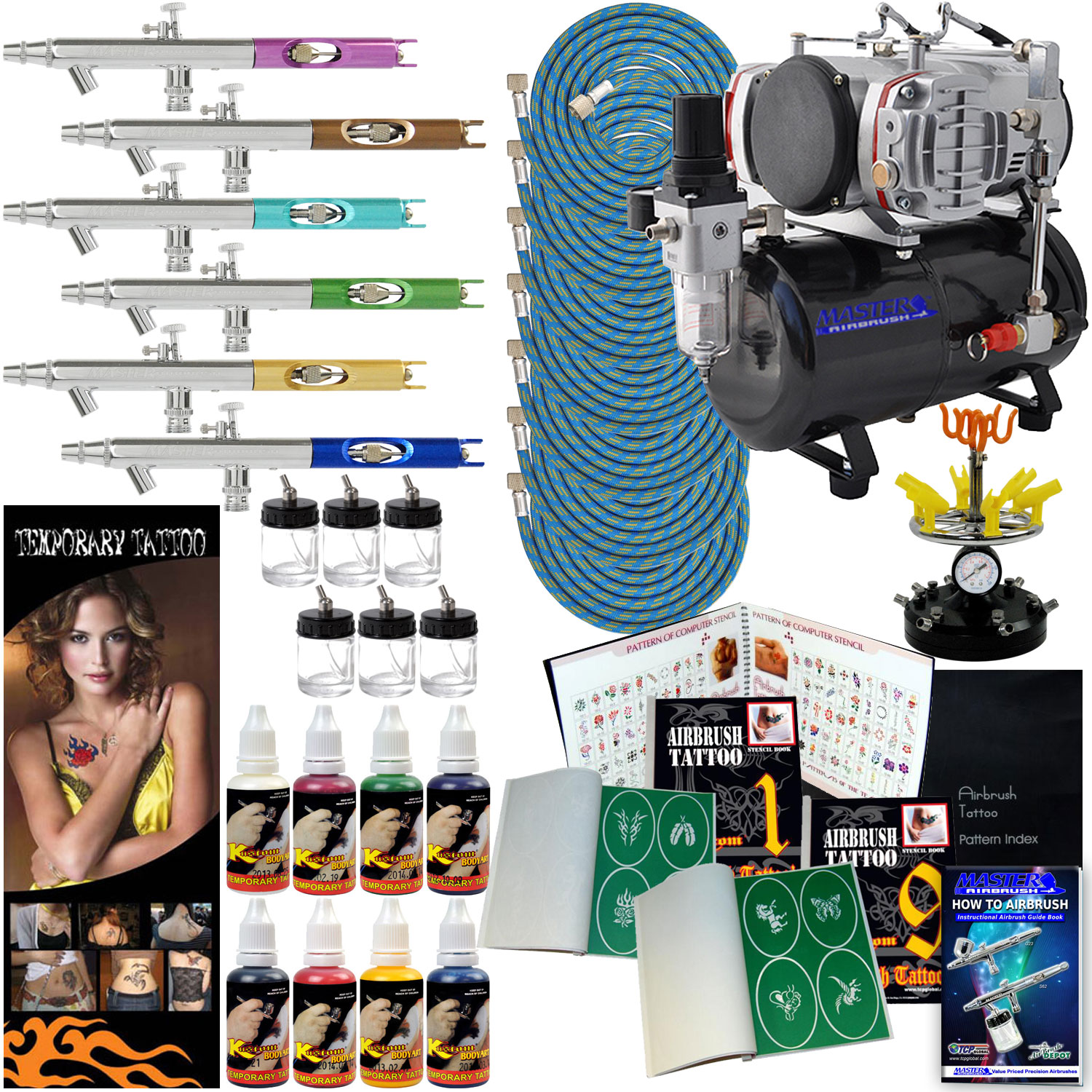 Airbrush Temporary Tattoo Stencils Paint Compressor Kit 6 Ideas And Designs