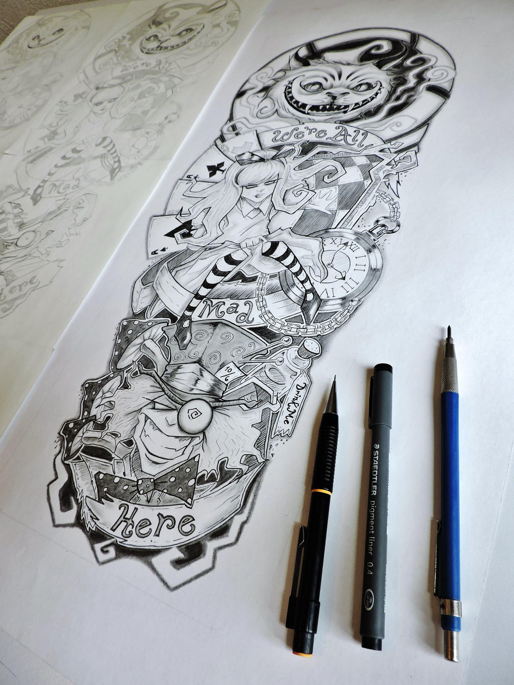 Alice In Wonderland Tattoo Sleeve By Er69Ck On Deviantart Ideas And Designs