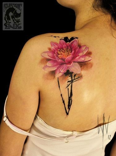 3D Realistic Colored Big Flower Tattoo On Shoulder Ideas And Designs
