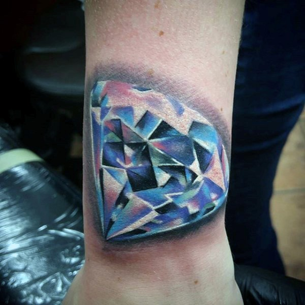 3D Realistic Colorful Diamond Tattoo On Wrist Ideas And Designs