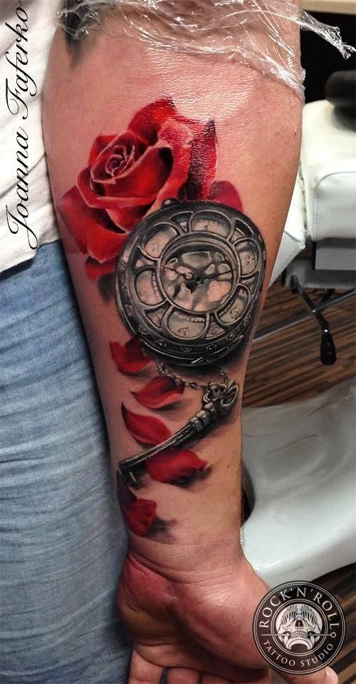 3D Style Colored Tattoo Of Red Rose With Mechanical Clock Ideas And Designs