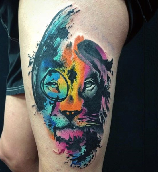 Awesome Multicolored Big Lion Face Tattoo On Thigh Ideas And Designs