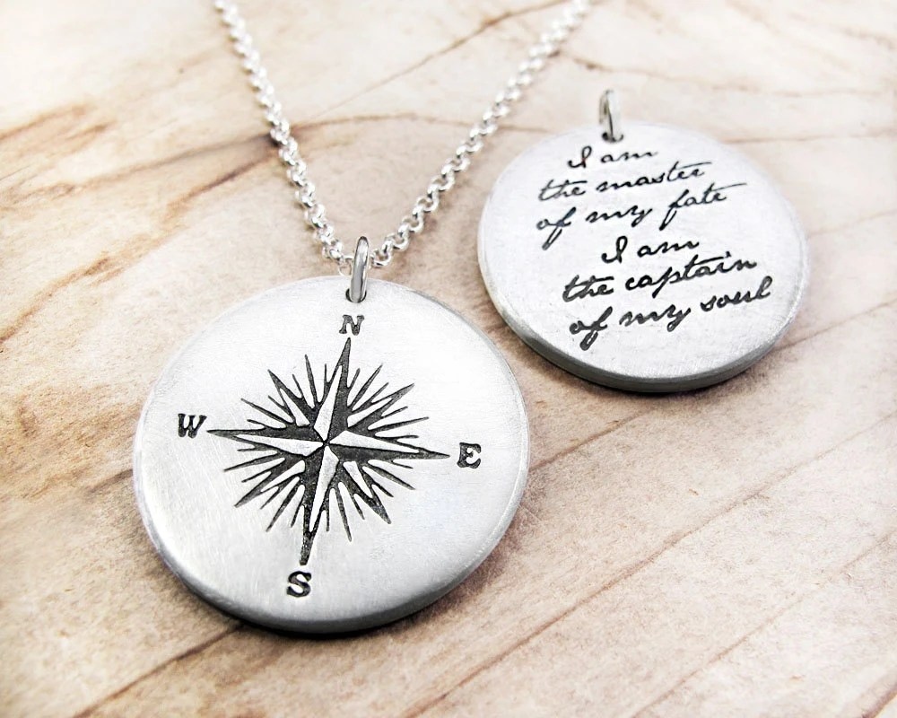 Compass Necklace Invictus Quote Inspirational By Ideas And Designs
