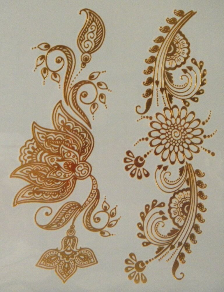 Gt08 Temporary Flash Gold Jewelry Tattoo Flower Henna Ideas And Designs